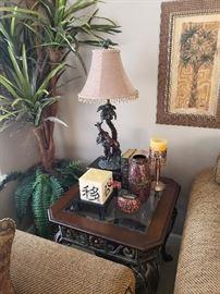 wood/iron end table lamp, silk plant, framed print