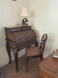 Charming petite Roll Top Desk and Chair