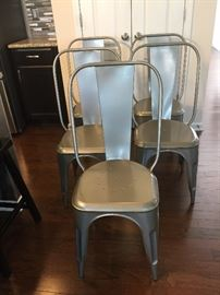 Set of 5 Metal Industrial Style Chairs