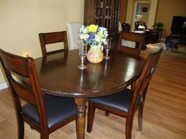 Small Dining Set,  Solid Wood Table, 4 Side Chairs with Leather Seats
