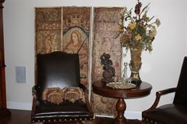 Leather chairs/ wooden screen wall decor