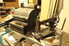3 different cash registers $50+ / 1905 sewing machine $10 - Light table new in box $25