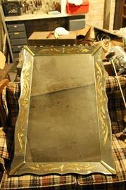 1950s Gold leaf / carved wood frame mirror $300