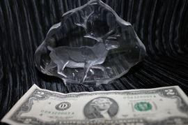 Mats Jonassan Elk Crystal Paperweight