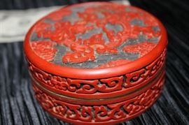 Coral and Enameled Brass Trinket Jar