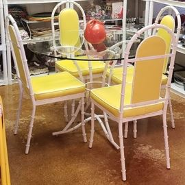 Mid Century Modern Kessler Bamboo Table and Chairs