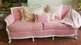 Pink and White Shabby Chic Sofa