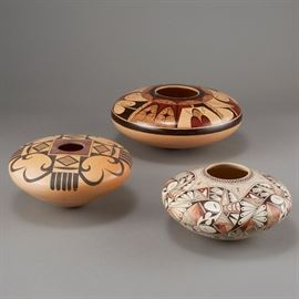 Lot #1 - 3 Fawn Navasie, Setalla, and Rainy Naha Hopi Pottery Jars with a Starting Bid of $260