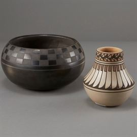 Lot#7 - 2 Blue Corn San Ildefonso Blackware and Jar with a Starting Bid of $200