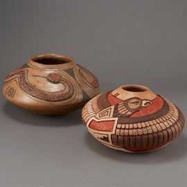 Lot #10 - 2 Heavily Carved Tom Polacca Hopi Pottery Bowls with a Starting Bid of $400