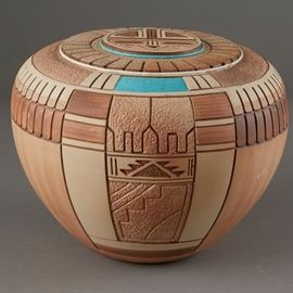 Lot #12 - Tom Polacca Carved Pottery Turqoise with a Starting Bid of $300