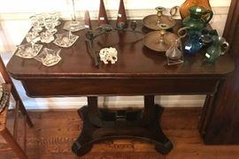 Antique flip top table