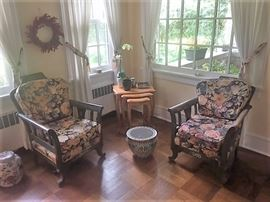 Pair Towle Style Painted Arm Chairs
