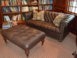 Leather Chesterfield sofa and ottoman
