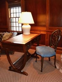 Desk with woven top and spiderweb back chair