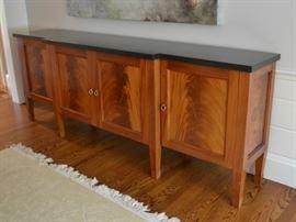 Custom flame mahogany sideboard with granite top