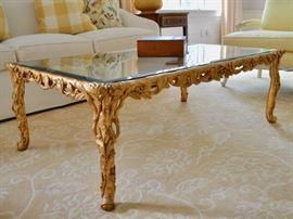 Italian gilt table with glass top