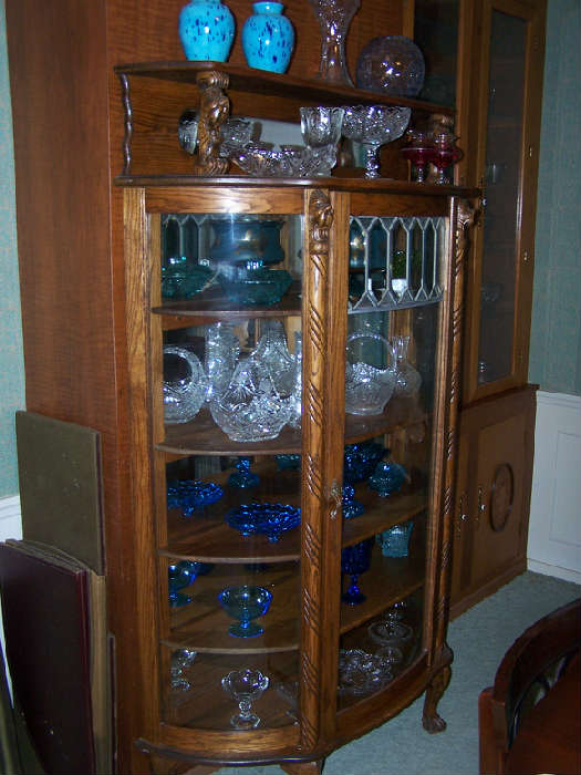 1 of 3 different Curved glass Oak Curio Cabinets