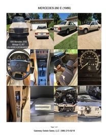 Year-1989, Make - Mercedes Benz,  Model 260 E, Body Style-4 Door, Miles - 62,487 -Automatic - 2 Wheel Drive