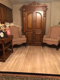 Mahogany Armoire by Heckman  - Wing Back Chairs -Vintage Table/Cart