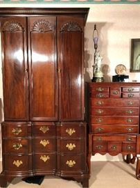 "Cherry Armoire by American Masterpiece 36x22x76.   Jewelry Stand by Bombay Co. 26""x16""x47"""