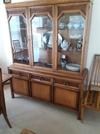 Beautiful two-tone hutch from Basic-Witz matches, not only the drop leaf dining table but also living room furniture and bedroom set