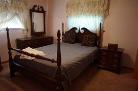 Mahogany 4 poster bed, night stand, drapes