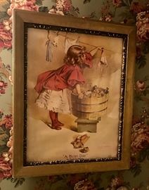 "MAUD HUMPHREY BOGART ""A BUSY DAY"" PRINT IN ANTIQUE FRAME"