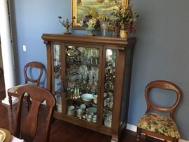 Empire style mahogany china cabinet