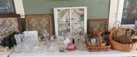 BASKETS, FRAMED QUILT PIECES, OLD WIDOWS, VINTAGE GLASS
