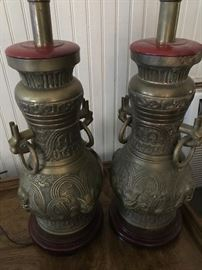Wonderful pair of James Mond style Asian influenced vintage brass lamps.