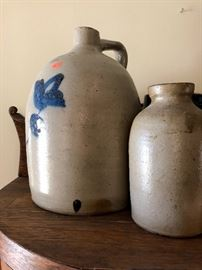 Salt glazed pottery jugs