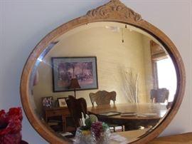 Antique 4 drawer dresser and mirror.