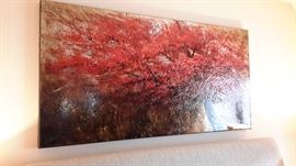 Beautiful painting on canvass of fall trees.