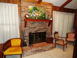 Hearth Tools, Accent Chairs, Hand Painted Canvas