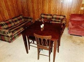 Cherry wood look table & 4 chairs, Sofa, Love Seat, Recliner