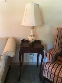 Antique square end table. Mahogany wood. We have a pair. Sold individually.
