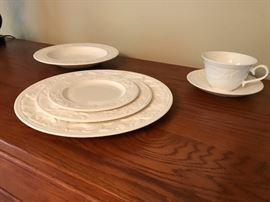 "Serving for twelve!  Lenox China ""white linen"" edition"