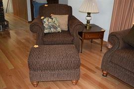 Chair, ottoman, & pillows