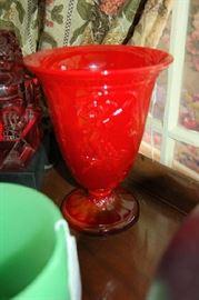 Tall Mandarin Red Figural Vase Fenton
