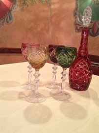 German Crystal Multi Colored Decanter with Glasses