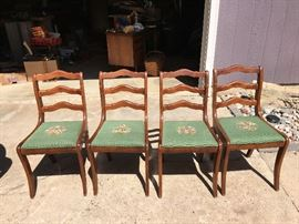 Set of (4) Antique Walnut Chairs