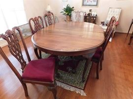 Oval Mahogany Dining Table With 2 Leaves, Center Leg For Support