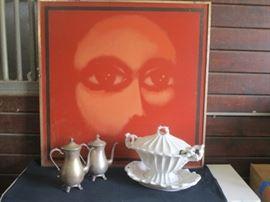 Original artwork with a vintage set of tea pots and gorgeous soup terrine