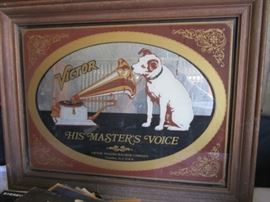 Vintage RCA Victor classic dog picture on mirror as a wall hanging