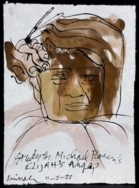 "Animah Robinson (1940-2015) Watercolor Study for ""Elijah's Angel"" Publication Titled, ""Barbers Hands"""
