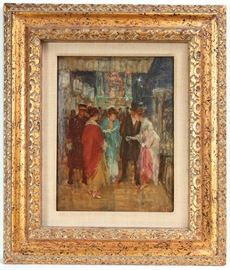 "Aloysius O' Kelly (1853-1936) Oil on Canvas Painting Titled ""Arrival at the Opera Opening Night"""