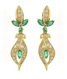 14k Yellow Gold Dangle Earrings with Diamonds and Emeralds