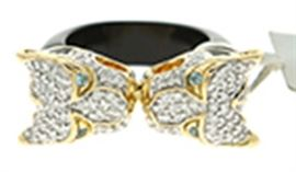 "18k Yellow Gold John Hardy ""Legends Macan Collection"" Ring with Pave Diamonds and Black Enamel"