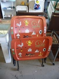 60's TV tray set